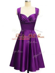 Glittering Eggplant Purple Sleeveless Ruching Knee Length Wedding Party Dress