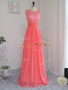 Stylish Sleeveless Floor Length Lace Zipper Quinceanera Court of Honor Dress with Watermelon Red