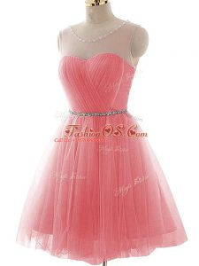 Mini Length Watermelon Red Prom Gown Tulle Sleeveless Ruching