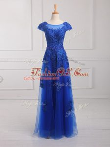Tulle Scoop Short Sleeves Lace Up Beading and Lace and Appliques Casual Dresses in Royal Blue
