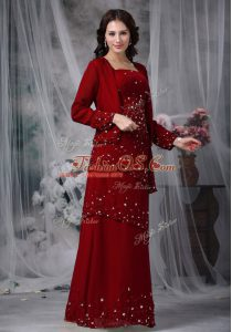 Straps Sleeveless Mother Of The Bride Dress Floor Length Beading Wine Red Chiffon