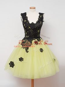 Custom Made Knee Length Zipper Damas Dress Yellow for Prom and Party and Wedding Party with Lace