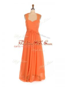 Best Straps Sleeveless Bridesmaid Dresses Floor Length Lace Orange Red Chiffon