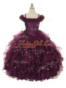 Burgundy Ball Gowns Off The Shoulder Sleeveless Organza Floor Length Lace Up Ruffles and Ruffled Layers Little Girls Pageant Dress Wholesale