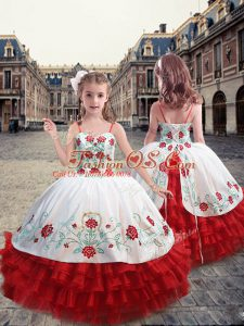Straps Sleeveless Embroidery and Ruffles Lace Up Child Pageant Dress