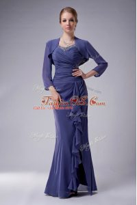 Pretty Blue Chiffon Zipper Straps Sleeveless Floor Length Mother Of The Bride Dress Beading