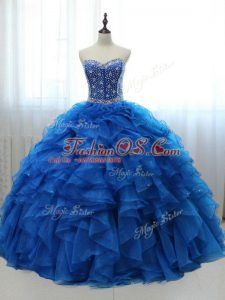 Customized Sleeveless Lace Up Floor Length Beading and Ruffles Sweet 16 Dress