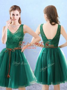 Gorgeous Sleeveless Tulle Knee Length Backless Vestidos de Damas in Green with Lace