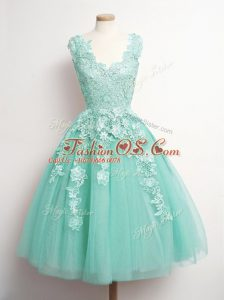 Fantastic Aqua Blue Lace Up Bridesmaid Gown Appliques Sleeveless Knee Length