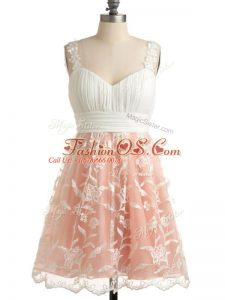 Lace Bridesmaids Dress Peach Lace Up Sleeveless Knee Length