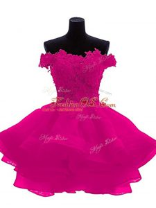 Edgy Fuchsia Sleeveless Beading and Lace and Appliques and Ruffles Mini Length