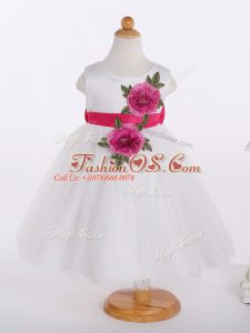 White A-line Scoop Sleeveless Tulle Knee Length Zipper Bowknot and Hand Made Flower Little Girls Pageant Dress