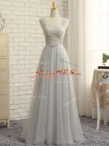Grey Empire Tulle Straps Sleeveless Lace Floor Length Zipper Vestidos de Damas Sweep Train