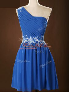 Blue Sleeveless Mini Length Appliques and Ruching Zipper Quinceanera Court Dresses