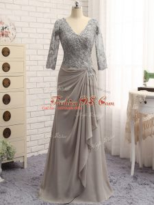Grey Zipper V-neck Lace and Appliques Mother Of The Bride Dress Chiffon Long Sleeves