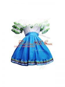 High End Blue And White A-line Taffeta Scoop Short Sleeves Ruffles Mini Length Zipper Military Ball Dresses