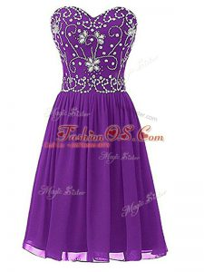 Clearance Knee Length Zipper Cocktail Dress Eggplant Purple for Prom and Party and Sweet 16 with Beading