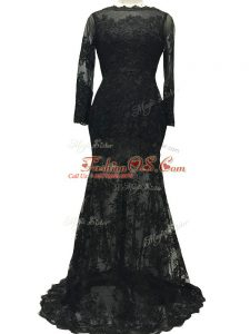 Designer Bateau Long Sleeves Brush Train Backless Mother Of The Bride Dress Black Lace
