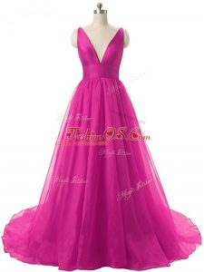 Fine Organza V-neck Sleeveless Brush Train Backless Ruching Ball Gown Prom Dress in Fuchsia