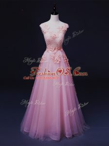 Straps Sleeveless Tulle Prom Evening Gown Appliques Lace Up