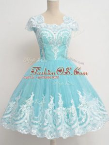 Trendy A-line Bridesmaid Dresses Aqua Blue Square Tulle Cap Sleeves Knee Length Zipper