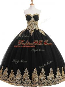 Sexy Black Tulle Lace Up Sweet 16 Dress Sleeveless Floor Length Appliques