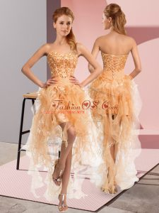 Modest Sweetheart Sleeveless Lace Up Club Wear Gold Organza