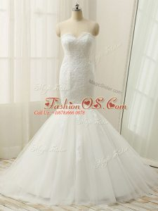 White Wedding Dress Wedding Party with Lace Sweetheart Sleeveless Brush Train Zipper