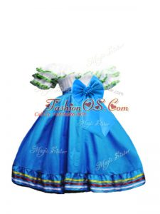 New Style Off The Shoulder Short Sleeves Little Girls Pageant Gowns Floor Length Ruffled Layers and Bowknot Baby Blue Taffeta