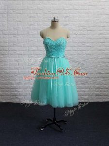 Apple Green Tulle Lace Up Sweetheart Sleeveless Mini Length Beading