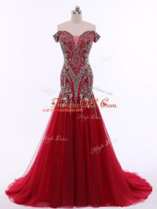 New Style Red Teens Party Dress Off The Shoulder Sleeveless Brush Train Zipper