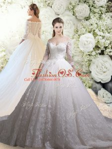 High Quality White Zipper Off The Shoulder Lace Wedding Gown Tulle 3 4 Length Sleeve Chapel Train