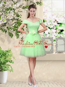 Cheap Apple Green Lace Up V-neck Lace and Belt Bridesmaids Dress Tulle Cap Sleeves