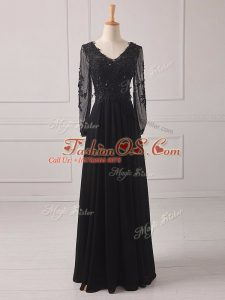 Glamorous Floor Length Zipper Mother Of The Bride Dress Black for Prom and Party and Military Ball with Lace and Appliques