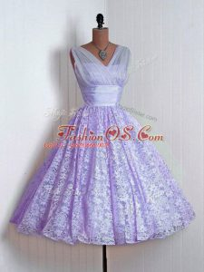 Flirting Lavender A-line Lace Wedding Guest Dresses Lace Up Lace Sleeveless Mini Length