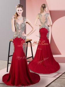 Wine Red Sleeveless Beading Side Zipper Oscars Dresses