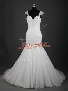 Trendy White Straps Neckline Lace Wedding Gown Sleeveless Lace Up