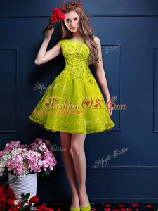 Knee Length Lace Up Bridesmaid Gown Yellow Green for Prom and Party with Beading and Lace