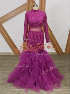 Free and Easy High-neck Long Sleeves Mother Of The Bride Dress Floor Length Lace and Ruffles Fuchsia Tulle