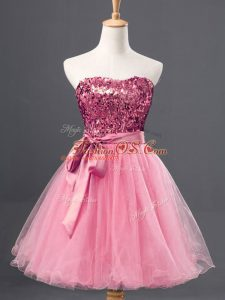 Eye-catching Mini Length Rose Pink Party Dress for Girls Sweetheart Sleeveless Zipper