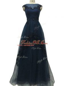 Flare Floor Length Navy Blue Mother Of The Bride Dress Tulle Sleeveless Lace and Appliques