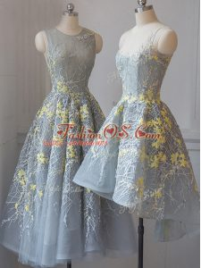 Perfect Scoop Sleeveless Criss Cross Quinceanera Court of Honor Dress Grey Tulle