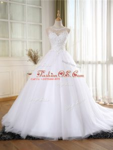 Great Lace and Appliques Wedding Dress White Zipper Sleeveless Court Train
