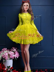 Traditional 3 4 Length Sleeve Mini Length Beading and Lace and Appliques Lace Up Wedding Guest Dresses with Yellow