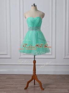 Mini Length Apple Green Cocktail Dress Organza Sleeveless Beading and Ruching
