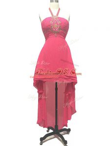 Ideal Hot Pink Empire Beading Cocktail Dresses Backless Chiffon Sleeveless High Low