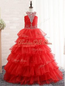 Red Lace Up Halter Top Beading and Ruffled Layers Little Girls Pageant Gowns Organza Sleeveless