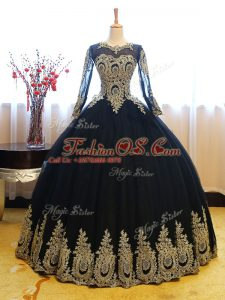 Beauteous Long Sleeves Organza Floor Length Lace Up Sweet 16 Dresses in Navy Blue with Appliques