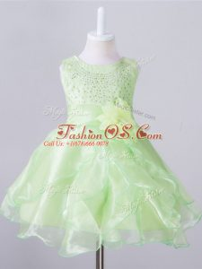 Sleeveless Zipper Knee Length Beading and Hand Made Flower Kids Pageant Dress