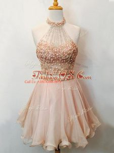 Perfect Champagne Two Pieces Beading Court Dresses for Sweet 16 Lace Up Organza Sleeveless Knee Length